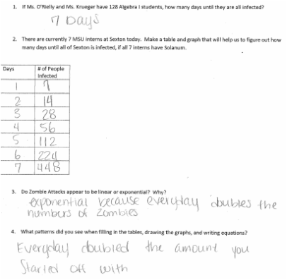 Printables Exponential Growth And Decay Worksheet motivating with zombie exponential growth student motivation and to produce a generalization decided that 6th hour would an exit ticket ask them for generalization